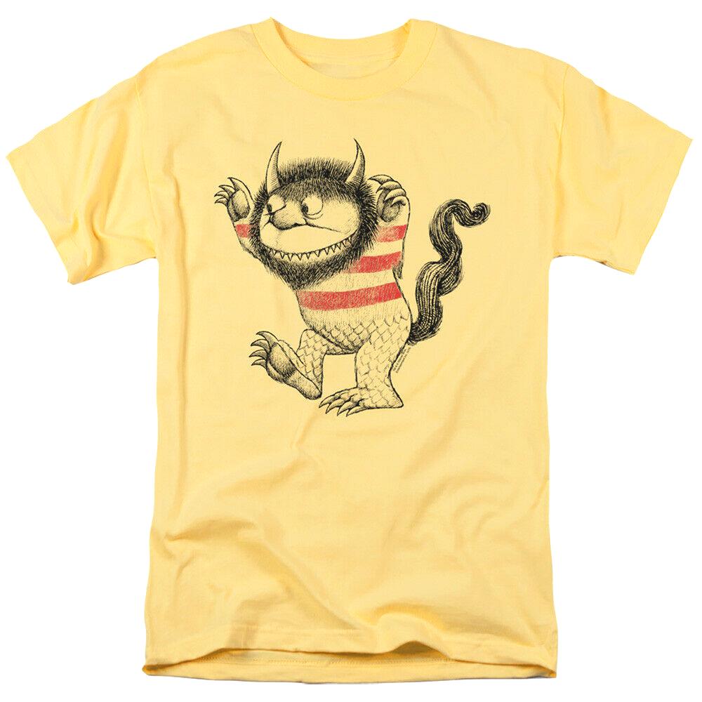 Where wild things are t shirt retro children book movie cotton yellow tee