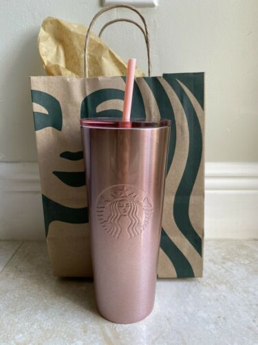 Starbucks 2019 Rose Gold Glitter Pink Metallic Travel Tumbler Stainless 24oz New