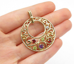 925 Sterling Silver - Multi-Gemstone Gold Plated Swirl Detail Pendant - P11089 - $31.18