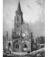 FRANCE Vezelay Church of Saint Pere - SUPERB 1843 Lithograph  Print - $39.60