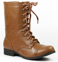 Tan Brown Faux Leather w Zipper Mid Calf Lace Up Military Combat Boots Soda - $14.99
