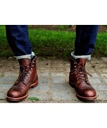 Men,s Custom Handmade Round Style Real Brown Leather Ankle Boots, Leathe... - $179.99