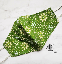Floral Cotton Face Mask Green Cloth Face Cover Double Layer Woman Handma... - $13.50