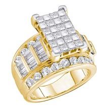 14kt Yellow Gold Princess Diamond Cluster Bridal Wedding Engagement Ring - $3,239.00