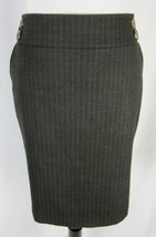 Tahari Skirt size 10 Brown Wool Pinstripe Stretch Straight Knee Buttons Career - $29.97