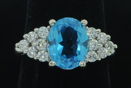 Designer EMA 14K White Gold Blue Topaz and Diamond Ring (Size 5 1/2) - $530.00