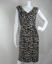 Adrianna Papell Sheath Dress Sleeveles V neckline Animal Print Stretch S... - $26.64