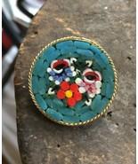 Vintage Micro Mosaic Millefiori Floral Flowers Teal Blue Round Pin Brooc... - $41.39