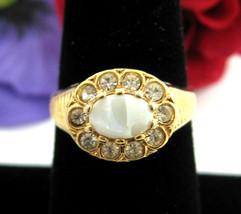 Genuine OPAL & Rhinestone RING Vintage 18KT Gold Electroplated Size 8 CH... - $12.99
