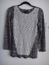 ALFANI Sequin Embellished White Gray Metallic Knit Tunic Sweater Top XS ... - $19.95