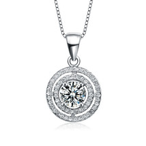 Women's Sterling Silver Round Cubic Zirconia Double Halo Pendant Necklace  - $1.720,88 MXN