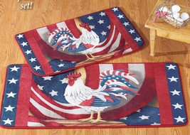 """2 pc Patriotic Rooster Rug Set, app. 20""""x 40"""" & 18""""x 30"""", USA FLAG ROOSTER - $29.69"""