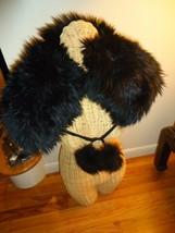 UGG Sheepskin Shearling Pom Pom Clip Shawl/Scarf Black - $344.20
