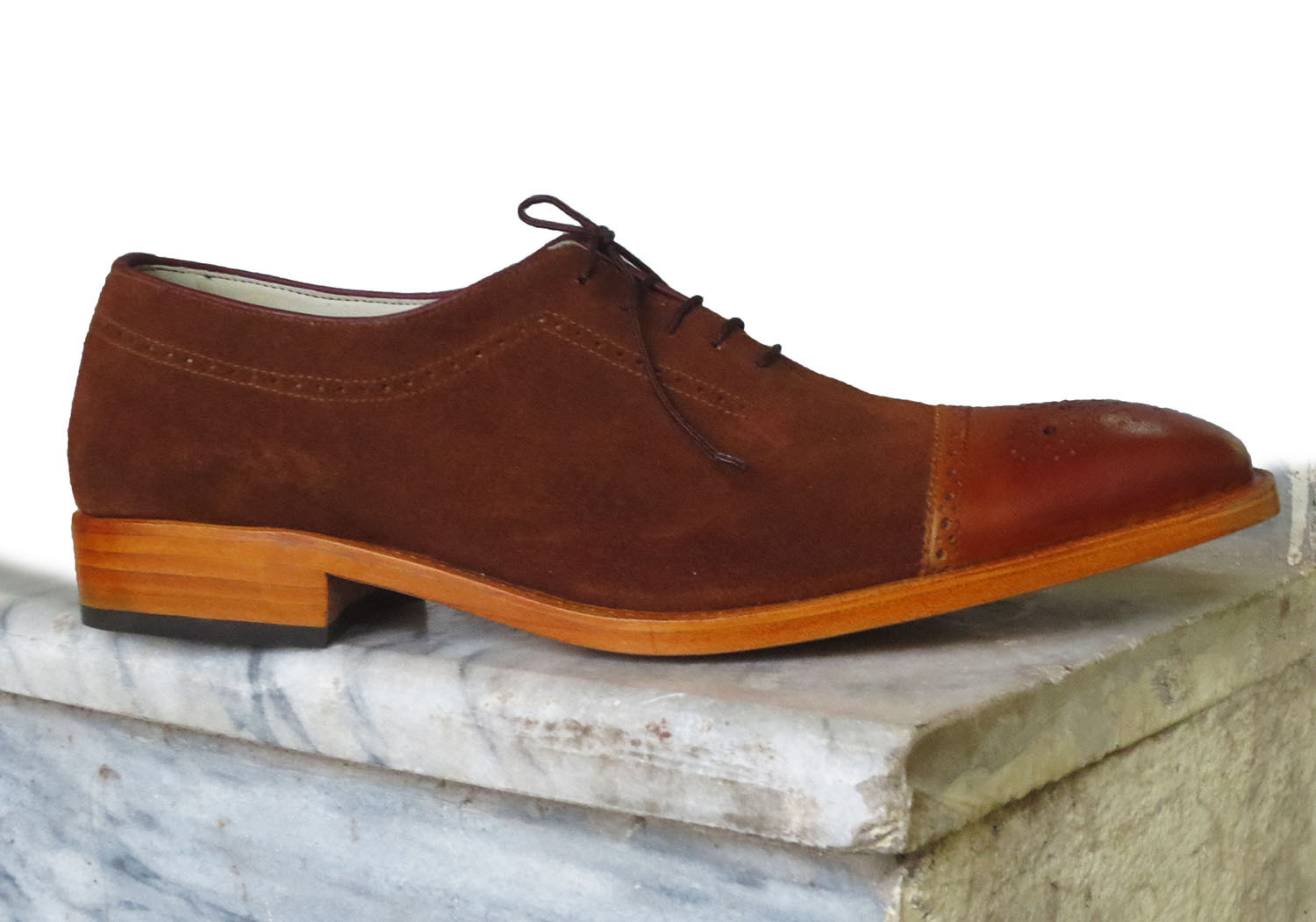Superior Brown Suede Leather Cap Toe Tan Sole Lace Up Oxford Men Shoes image 2