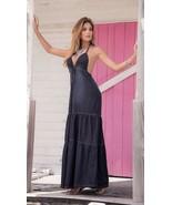 Espiral Blue Chambray Denim Long Maxi Summer Sun Dress 4991 - $39.99