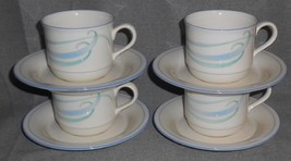 Set (4) Lenox SKY BLUE BRUSHSTROKES PATTERN Cups and Saucers MADE IN USA - $15.83