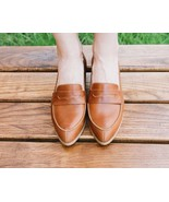 Shoegazing Saddle Brown Split Toe Penny Loafer Pure Leather Women Formal... - $129.99+