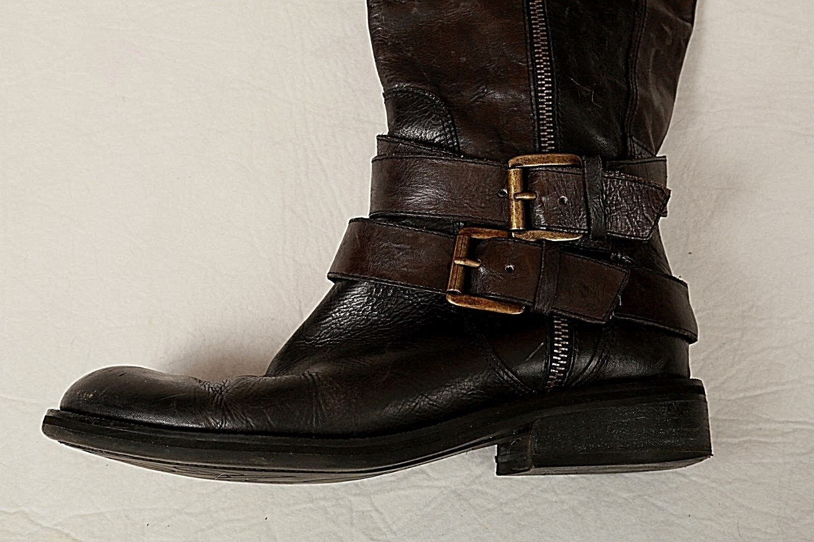 c35e570dc4f ENZO ANGIOLINI EASAYLEM WOMEN S BLACK LEATHER SIDE ZIP RIDING BUCKLE BOOTS  7.5 M