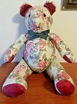 """Vintage Handmade 18"""" Teddy Bear from 1950 Cotton Fabric Red & Green - $27.72"""