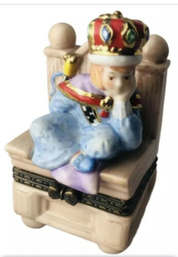Primary image for Prince On Throne 1998 M E Ink Enesco Porcelain Jewelry Trinket Box Bored King