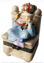 Prince On Throne 1998 M E Ink Enesco Porcelain Jewelry Trinket Box Bored King - $39.85
