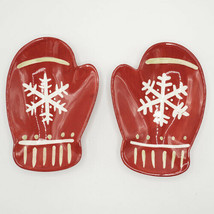 Hallmark Set of 2 Red Mittens Ceramic Snowflake Serving Dishes Christmas - $16.95