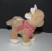"Baby Gund Plush Aboo reindeer rattle red gingham scarf  4.5""  88886 soft... - $6.92"
