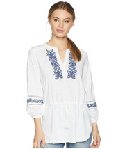 Lauren Ralph Lauren Women's White Embroidered Cotton Drawstring Top $89 ... - $29.69
