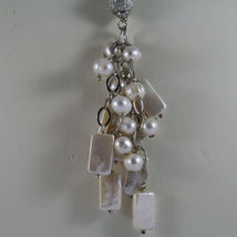 .925 SILVER RHODIUM NECKLACE WITH RECTANGULAR AND ROUND FRESHWATER WHITE PEARLS image 3