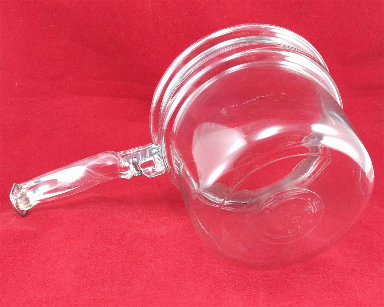Pyrex Flameware 6283U 1½ qt Vintage Glass Saucepan w/ Stainless Steel Band image 6
