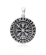 925 Sterling Silver Vegvisir Icelandic Viking Asatru Compass Norse Runes... - $35.23