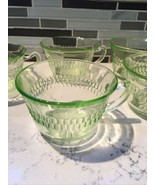 5 Vtg ROULETTE VASELINE URANIUM Green Depression Glass TEA CUPS 1930's VGC - $20.28