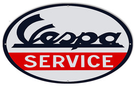 Reproduction Vespa Service Garage Shop Metal Sign 11x24 Oval - $29.70