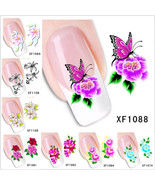 Nail Art Water Transfer Stickers Flower Butterfly Decals Tips Decoration - $2.80