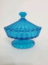 Mid Century Fostoria Blue Mist Frosted 1960 grooved  Footed Compote Candy Dish - $30.00