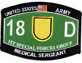 "4.5"" Army 1ST Special Forces Gorup 18D Medical Serg EAN T Embroidered Patch - $17.09"