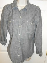 Women's sz M Old Navy long sleeve denim gray jean blouse Top - $14.84