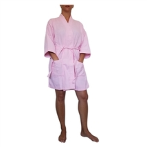 "36"" Light Pink Cotton Waffle Kimono Robe, Adult One Size Fits Most - $22.50"