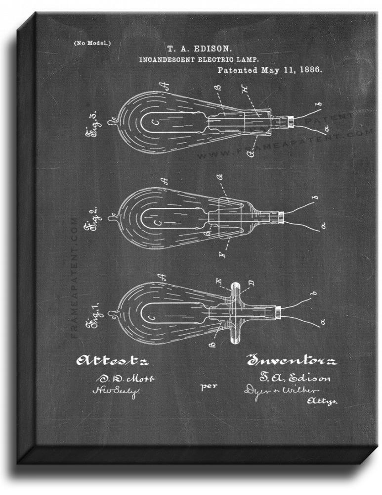 Primary image for Incandescent Electric Lamp Patent Print Chalkboard on Canvas
