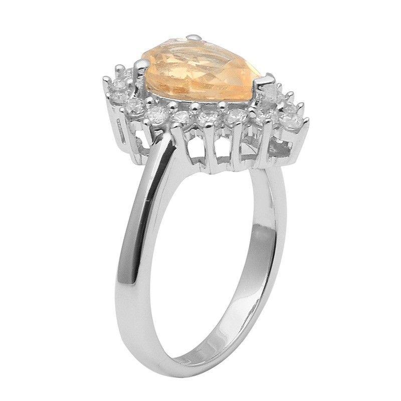 Citrine & White Topaz 925 Sterling Silver Ring Shine Jewelry Size-8 SHRI1428