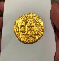 """PERU 1708 8 ESCUDOS """"1715 FLEET"""" 22kt PLATED GOLD DOUBLOON COB TREASURE ... - $299.00"""