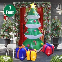 Twinkle Star Christmas Inflatables 7 Feet Xmas Tree with Gift Box Blow Up Indoor - $60.98