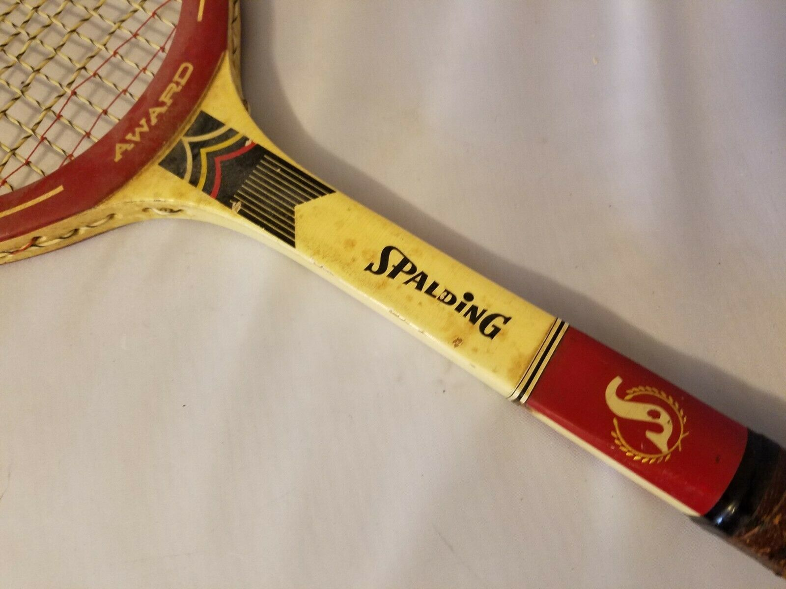 Spalding Award Vintage Tennis Racquet Racket Wood With Wooden Case