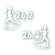 Marathon 26.2 GIRL WOMAN Decal bumper sticker PAIR Olympic mile runner W... - $8.83