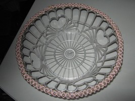 Vintage Open Weave Cut Work Bowl Clear w/Pink Woven Braid Trim - $6.50