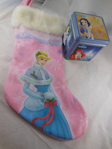 Disney Princess Cinderella Christmas Stocking plus 3D Tin Box w 5 Prince... - $14.84