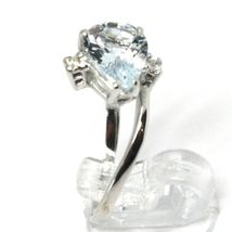 18K WHITE GOLD BAND RING AQUAMARINE 1.60 DROP CUT & DIAMONDS, MADE IN ITALY image 2