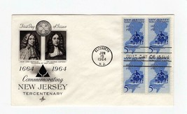 FDC ENVELOPE-COMMEMORATING NEW JERSEY TERCENTENARY- 4BL 1964 ARTCRAFT  BK13 - $1.23