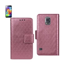 Reiko Samsung Galaxy S5 Rhombus Wallet Case In Hot Pink - $8.70