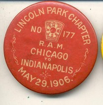"""lincoln park Chapter R.A.M. Chicago Indianapolis may 29 1906 2 1/4"""" Pin - $19.99"""